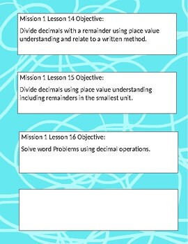5th Grade ZEARN/Eureka Math Objectives for Missions 1-6
