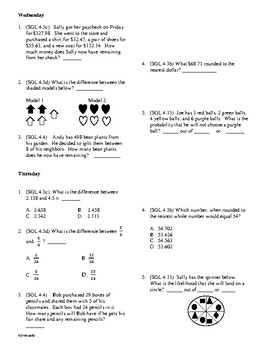 5th grade Math Daily Review week 1