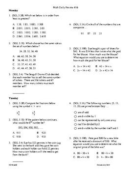 5th Grade math daily review week 16