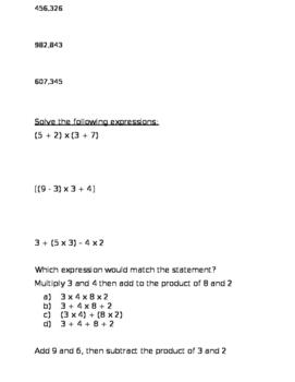 5th Grade study guide