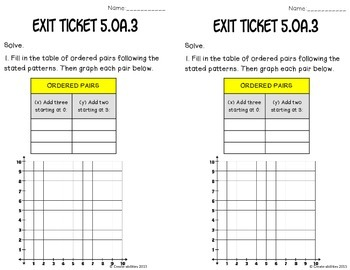 Patterns and Graphing Math Tasks and Exit Tickets