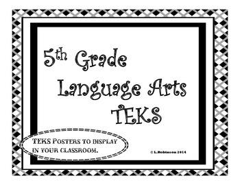 5th Grade Language Arts TEKS We will Statements; Black and White