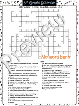 5th Grd Science VERB Vocabulary CW Puzzle~1st 6 Weeks #1~NO PREP