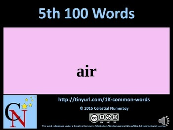 5th Hundred Words with Audio - 1,000 Word Fluency Program (Free)
