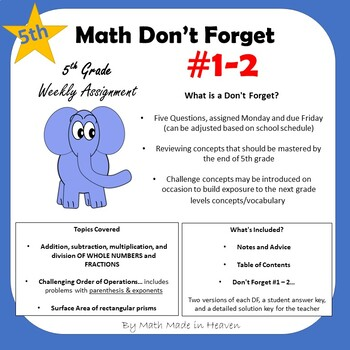 5th Math - Weekly Assignment - DON'T FORGET! Weeks #1-2 FREE