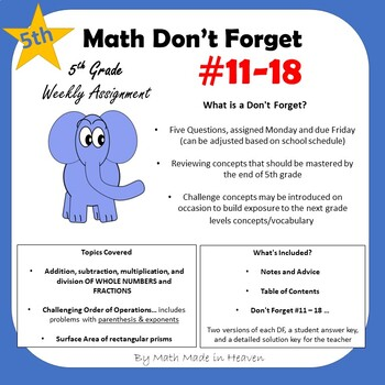 5th Math - Weekly Assignment - DON'T FORGET! Weeks #11-18