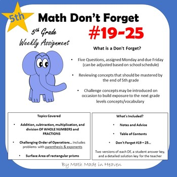 5th Math - Weekly Assignment - DON'T FORGET! Weeks #19-25