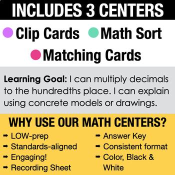 5th - Multiply Decimals Math Centers - Math Games