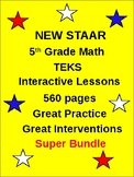 Distance Learning: 5th Grade  TEKS STAAR Math  (560 interactive pages)