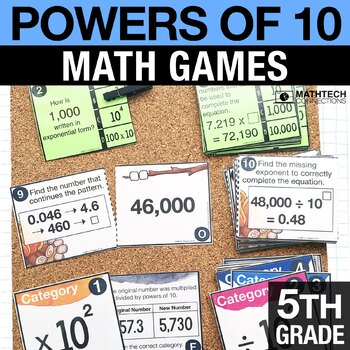 5th - Powers of 10 Math Centers - Math Games