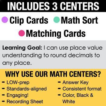 5th - Rounding Decimals Math Centers - Math Games