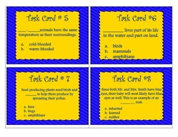 Cells Classification inherited traits task cards -Science