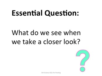 5th Science Essential Questions for Posting