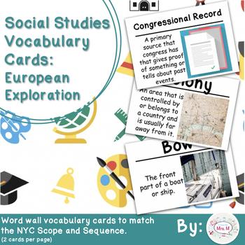 5th Social Studies Vocab Cards: European Exploration (Large)