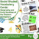 5th Social Studies Vocab Cards: Geography & Societies of the West Hemisphere (L)