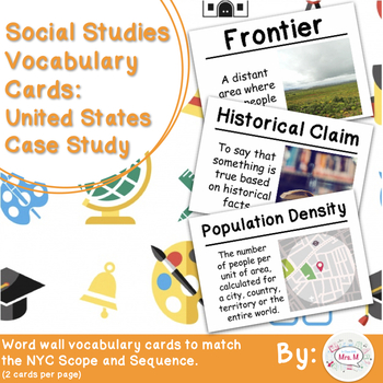 5th Social Studies Vocab Cards: United States Case Study (Large)