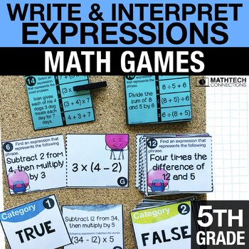 5th - Write & Interpret Expressions Math Centers - Math Games