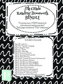 5th Grade YEARLONG Reading Homework Bundle