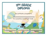 5th and 6th Grade Graduation Diploma - Dr Seuss Oh The Pla