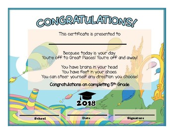 5th and 6th Grade Graduation Diploma - Dr Seuss Oh The Places Themed