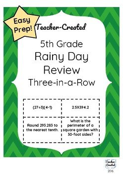 5th Grade Math Review Game