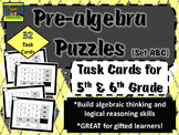 5th and 6th Grade Pre-Algebra Math Task Cards (prealgebra, algebraic thinking)