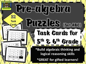 5th and 6th Grade Pre-Algebra Math Task Cards (prealgebra,