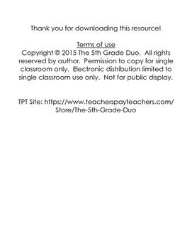 5th grade 5.NBT.2 weekly math review