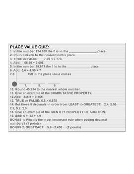5th grade ActivInspire Decimal/Place Value Assessment/Center 5.NBT.A.3, 4, 7