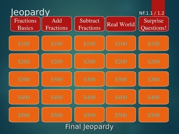 5th grade Add & Subtract Fractions NF.1.1 NF.1.2 NF.A1 NF.A.2 Jeopardy ppt.