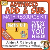 5th grade Adding and Subtracting Fractions & Decimals Math Kit
