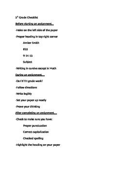5th grade Checklist