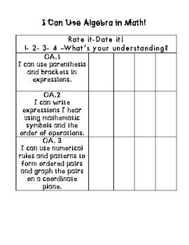 5th grade Common Core Data Tracking-Math