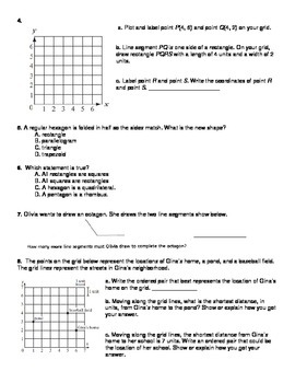 5th grade Common Core Domain 5:Geometry Review and Test
