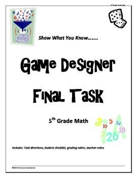 """5th grade Common Core Math """"Game Designer"""" final project"""
