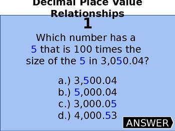 5th grade Decimal Place Value Review Game