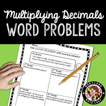 5th grade Decimal Word Problems - Close Reading!