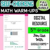 5th grade Digital Self-Grading and Self-Checking Math Warm