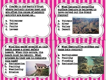 5th grade Earth Science Task Cards S5E1:  Constructive/Destructive Forces