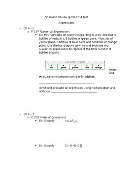 5th grade Expressions Study Guide for Chapter Test