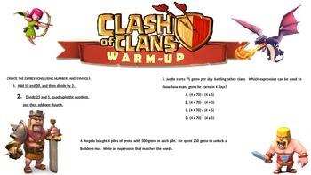 5th grade FSA Warm Ups - Algebraic Expressions