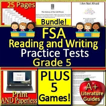5th grade FSA Writing AND Reading Practice Tests AND Game Show Bundle!