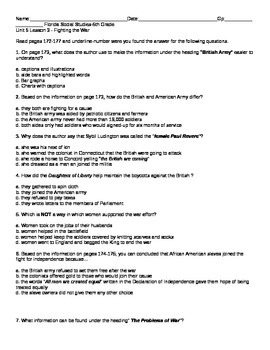 5th grade Florida Social Studies-Unit 5 lesson 3 Quiz American Revolution