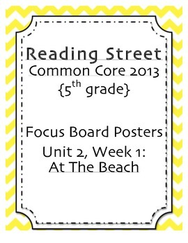 "5th grade Focus Wall, ""At the Beach"" Reading Street 2013"