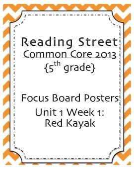 "5th grade Focus Wall, ""Red Kayak"" Reading Street 2013"
