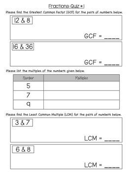 5th grade Fraction Quiz 1