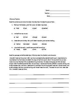 5th grade Inference Worksheet