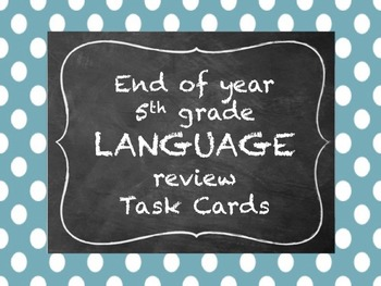5th grade Language Review Task Cards