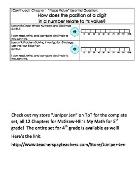 5th grade Learning Targets for McGraw-Hill's My Math Chapter 1