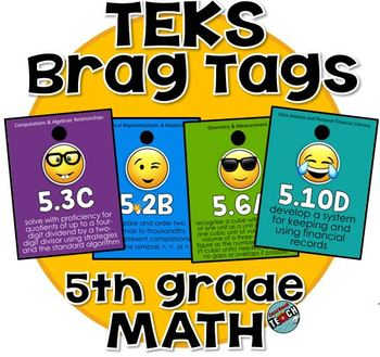 5th grade MATH TEKS Brag Tags - Emojis